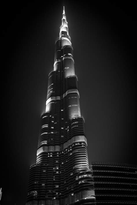 black  white burj khalifa  night    ta flickr
