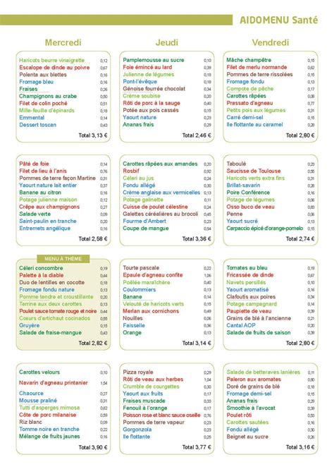 menu cuisine collective menu santé le cuisinier avril 2016 vici solutions