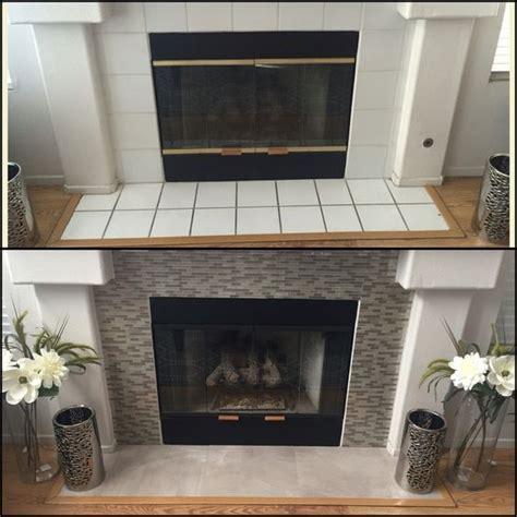 DIY fireplace makeover under $100 Smart Tiles in Muretto