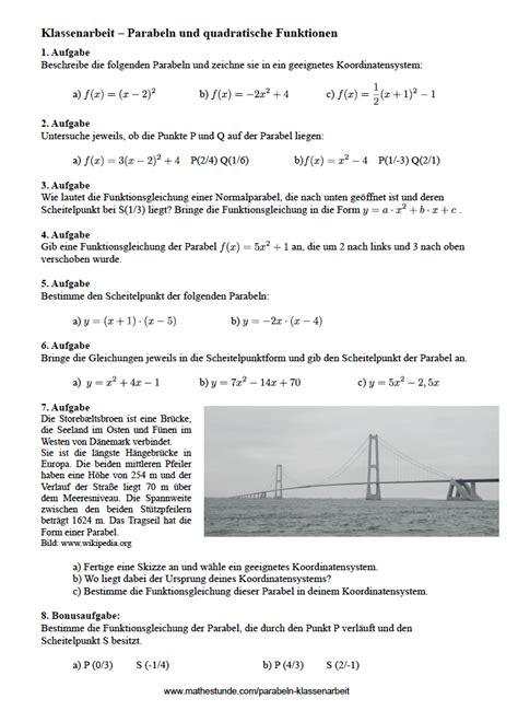 parabeln aufgaben mit loesungen parabel berechnen klasse