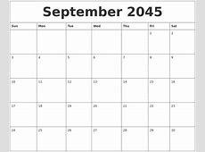 June 2045 Calendar Monthly