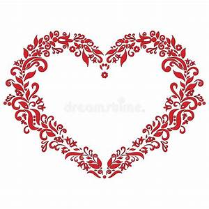 Embroidery Inspired Love Heart Shape Pattern In Red With ...