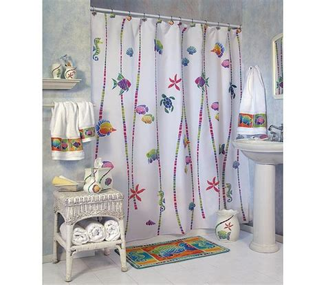 fish shower curtain and bath accessories