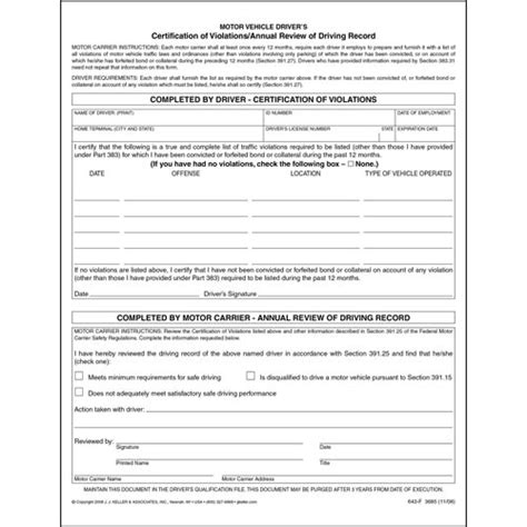 certification  violationsannual review  driving record