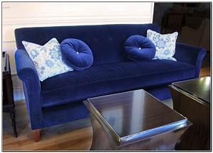 Velvet sofa slipcover pam morris sews velvet sofa for Sofa arm covers blue