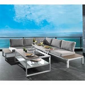 Salon De Jardin Canapé D Angle : salon de jardin d 39 angle gris seychelles aluminium laqu blanc ~ Teatrodelosmanantiales.com Idées de Décoration
