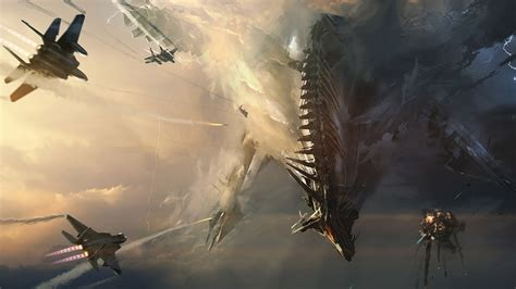 Jets Spaceship Drawing Sci Fi Science Battle Invasion Sky