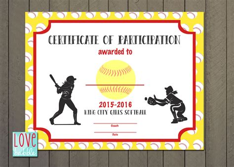 girls softball baseball  ball award certificate printable