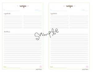 Recipe Sheets Templates Recipe Cards Half Size Planner Printable Pdf Template