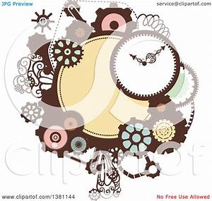 Clipart Of A Steampunk Frame With A Clock And Gears