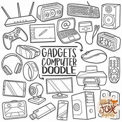 Doodle Technology Computer Gadgets Clipart Line Scrapbook