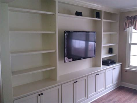 suspended kitchen cabinets built in with wall hung tv traditional living room 2620
