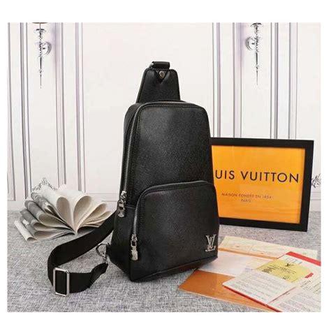 louis vuitton lv men avenue sling bag taiga leather black lulux