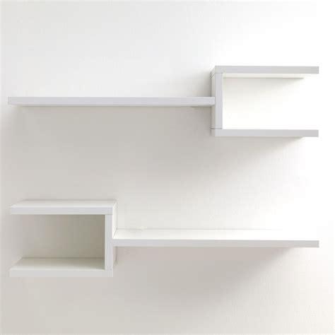 mensole parete coppia mensole da parete in legno bianco 75 cm frequency b