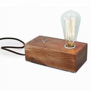 Lampe De Chevet Vintage : lampe de chevet edison bloc de bois de style vintage ~ Melissatoandfro.com Idées de Décoration