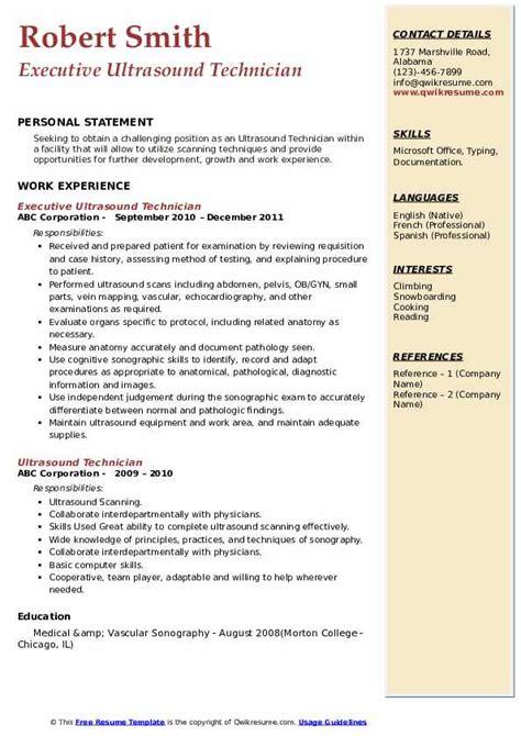 ultrasound technician resume samples qwikresume