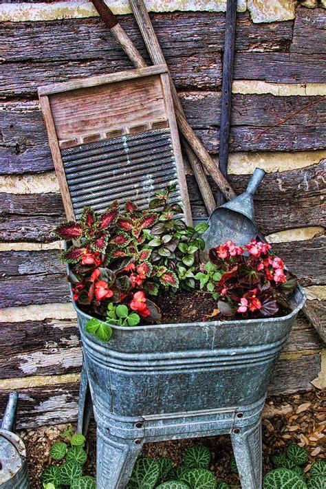 wash tub planters wash tub planter photograph by phelps