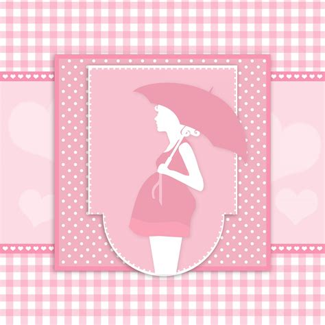 Pregnant Woman Baby Shower Card Free Stock Photo Public