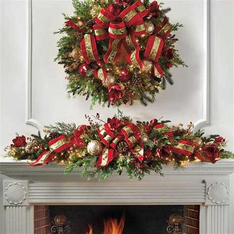 mantle swags decorated pre lit mantle swag frontgate decor traditional