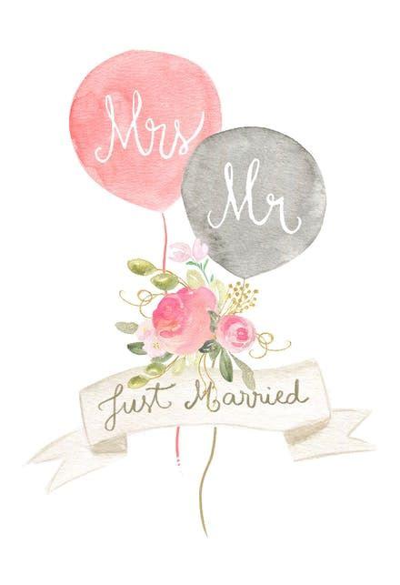 newlywed balloons  wedding congratulations card