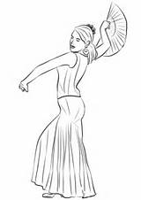Flamenco Spanish Dancing Coloring Woman Spain Pages Categories sketch template