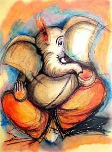 ganesha paintings on canvas | Ganesha knife painting