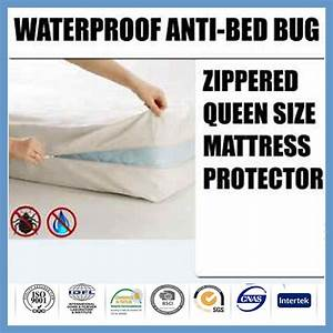 Polyester waterproof bed bug zip mattress protector cover for Bed bug approved mattress cover