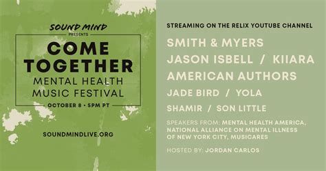 Come Together Mental Health Music Festival to Feature ...