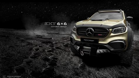 The truck boasts an addition axle on the rear section that ups the wheel count to six to. Tuner proposes Mercedes-Benz X-Class 6x6 pickup