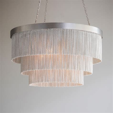 Silver Chain Chandelier by Silver Chain Shallow Chandelier Tigermoth Lighting