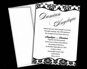 wedding invitation template black and white damask blank With etsy wedding invitations instant download