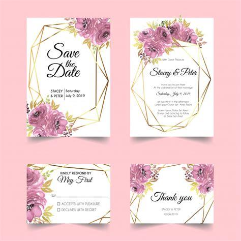 Watercolor floral gold geometric wedding invitation