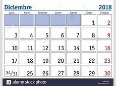 december month in a year 2018 wall calendar in spanish