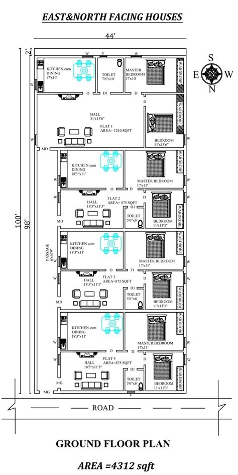 Home plans & blueprints is the best place when you want about pictures for your need, we found these are newest photos. 44'X100' The Perfect 2bhk East and north facing row House Plan | Indian house plans, House plans ...