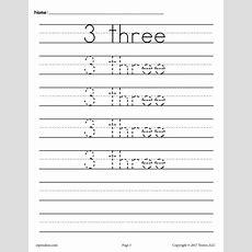 Free Number 3 Tracing Worksheet  Number Three Handwriting Worksheet Supplyme