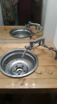 garage bathroom ideas my mechanic drag racing husband built this wheel sink for the 2nd bathroom garage deco