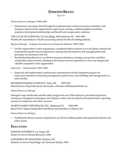 hr executive resume exle sle resume executive