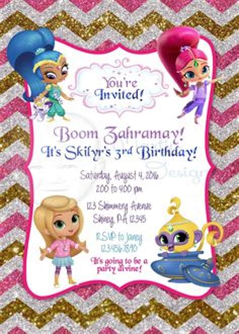 shimmer and shine invitation template free shimmer and shine supplies search s 5th birthday san