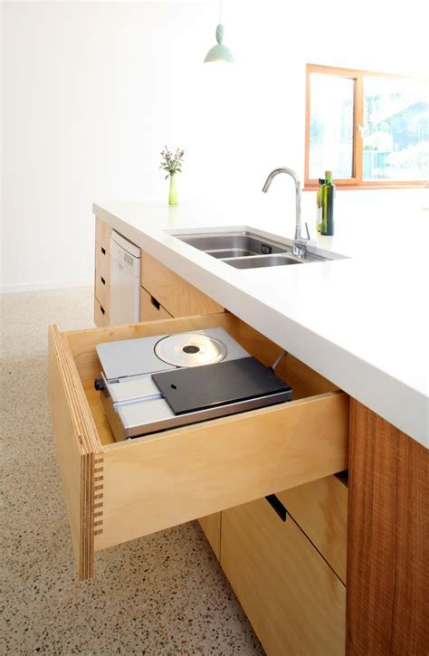Select Custom Joinery   Plywood Kitchen with concrete
