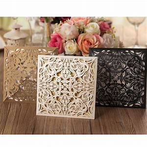 1pcs sample gold white black laser cut rose flora wedding With black and gold laser cut wedding invitations