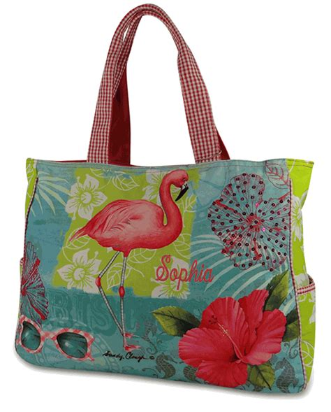 canvas flamingo beach tote personalized