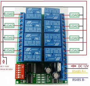 8ch Dc 12v Modbus Rtu Rs485 Relay Module Switch Board For