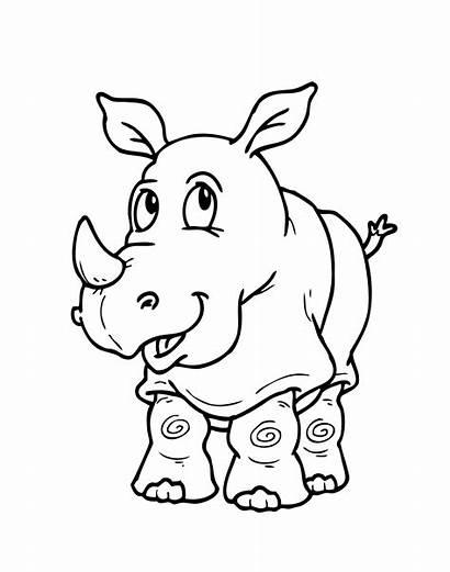 Coloring Animal Animals Pages Cartoon Printable Rhino