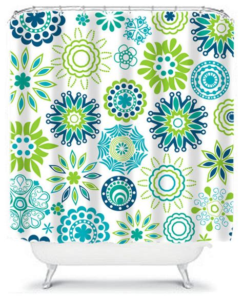 flower shower curtain turquoise and lime contemporary