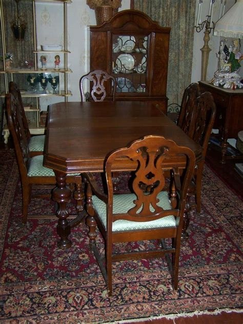 antique mount airy dark wood dining room table
