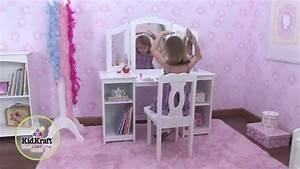 Coiffeuse Bois Enfant : coiffeuse en bois pour enfant avec chaise et triple miroir kidkraft youtube ~ Teatrodelosmanantiales.com Idées de Décoration