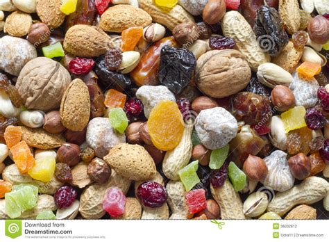 Nuts And Dried Fruits Background Stock Photography Image
