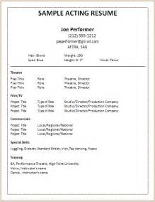 Actor Resume Template Free by Document Templates Acting Resume Format