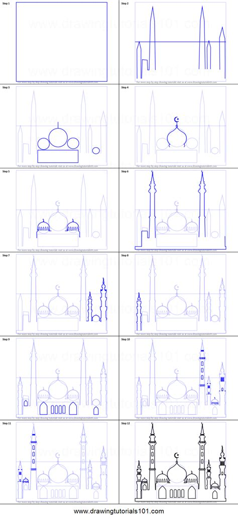 draw  beautiful mosque printable step  step