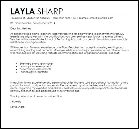 piano motivation letter piano cover letter sle cover letter templates 71772